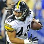 "Troy Polamalu picks up fumble and scores touchdown against the Colts in September, 2011. ""That long hair was really flying,"" Larry Foote said of his teammate and his level of play in the 23-20 Steelers victory."