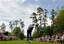 Jordan Spieth tees off on the 18th hole during the second round of the Masters golf tournament Friday.