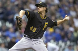 Pirates starter Jeff Locke pitched six innings and allowed two runs, earning the win Friday night against the Brewers at Miller Park in Milwaukee.