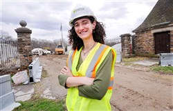 Marijke Hecht, project manager and director of education for the Pittsburgh Parks Conservancy, works at the drill site at the Frick Park Environmental Center in Squirrel Hill.