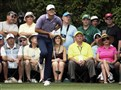 Jordan Spieth watches his tee shot on the 14th hole at the Masters in Augusta, Ga.