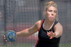 Bethel Park's Alexandra Stevenson winds up for her discus throw at the Tri-Sate Track Coaches Association Invitational at West Mifflin High School.