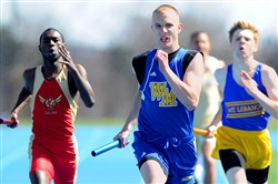 West Mifflin's Kevin Garbark heads to the finish line on the winning 1,600-meter relay at the annual Tri-Sate Track Coaches Association Invitational April 11 at West Mifflin. Garbark is one of the top sprinters in the WPIAL.