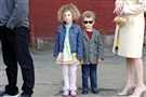 "Grace Kollar, 4, and her little brother, Jackson Kollar, 3, of Bridgeville, wait to register as extras for ""Outsiders,"" a television series to be filmed in the Pittsburgh region."
