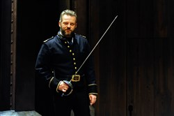 "Jeremy Kushnier, here as Iago in Pittsburgh Public Theater's ""Othello,"" was nominated for a Drama Desk Award as outstanding actor in a musical for ""Atomic"""