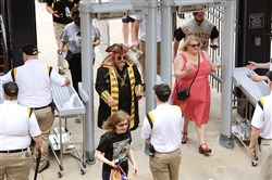 The newly installed full-body metal detectors at PNC Park were in operation for the Pirates' home opener Monday against the Detroit Tigers.