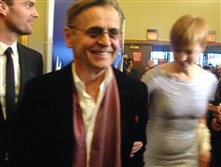 "Ballet great Mikhail Barishnikov, with Lisa Rinehart, is smiling and on the run to catch the official opening of the ballet-heavy ""An American in Paris,"" which premiered Sunday evening."
