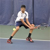 Rochan Ramesh, Franklin Regional's top singles player, returns a shot during the WPIAL Class AAA singles tournament on April 7.