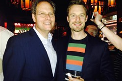 "Pittsburgh CLO executive producer and lead producer on ""An American Paris"" Van Kaplan, left, with the show's director-choreographer Christopher Wheeldon at the after party Saturday at Ruby Foo's restaurant on Broadway. The party was filled with Pittsburgh CLO officials and alums."