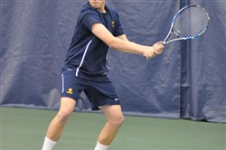 Mt. Lebanon's Dane Bendel, its No. 1 singles player, returns a shot during the WPIAL singles tournament.