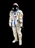 The full space suit of American astronaut Kenneth Bowersox, who returned to Earth in a Russian Soyuz spacecraft after the 2003 space shuttle Columbia disaster grounded the other shuttles