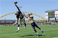 Tyler Boyd can't quite come up with a reception as he's defended by Phillipie Motley during Pitt's Blue-Gold game today at Highmark Stadium. The Blue team beat the Gold, 17-10.