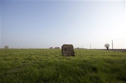 A piece of a World War I bunker still remains in the middle of a farm field in Langemark, Belgium.
