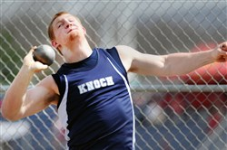 Knoch's Jordan Geist winds up to throw the shot put Friday at the Butler Invitational.