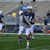Quarterback Christian Hackenberg warms up prior to the Blue-White Game in April.
