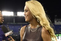 Britt McHenry on the job last year, courteously interviewing a Baltimore Raven after a Steelers game.