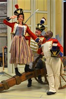 "Pittsburgh Opera's production of ""Daughter of the Regiment"" stars Lisette Oropesa as Marie, Kevin Glavin as Sulpice (middle) and Lawrence Brownlee as Tonio."