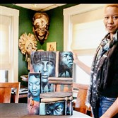 "Artist Leslie Ansley with her commissioned work that was used for the poster of Pittsburgh Playwrights Theatre Company's ""Fences."""