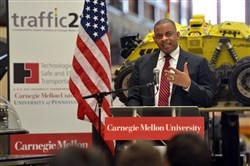 U.S. Secretary of Transportation Anthony Foxx speaks Wednesday after touring Carnegie Mellon University's National Robotics Engineering Center in Lawrenceville.