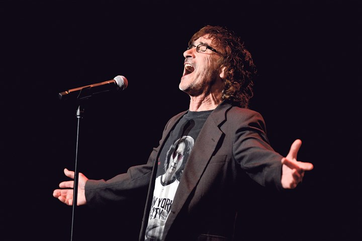 "20150404bwChristieMag02 Donnie Iris sings ""Love Is Like a Rock"" at the Pittsburgh Rockin' Reunion at the Benedum Center on April 4."