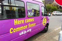An advertisement for UKIP, the U.K. Independence Party, on a vehicle.