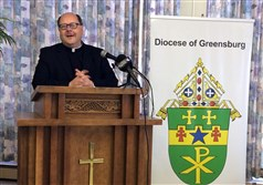 The Very Rev. Edward Malesic addresses the media at a news conference in Greensburg this morning. He will become bishop of the Greensburg Diocese.