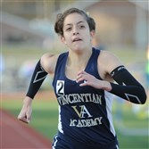Vincentian Academy's Marianne Abdalah breezes to a record-setting win in the 3200 meter-run at the Mars Area Invitational.