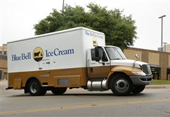 A Blue Bell Ice Cream truck stops at Walgreen's in Dallas on Thursday. Texas-based Blue Bell Creameries recalled all its products this week after listeria was found in a variety of the company's frozen treats.