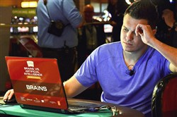 "Doug Polk of Las Vegas takes part in the ""Brains vs. Artificial Intelligence"" event at the Rivers Casino on the North Shore."