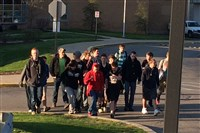 Plum Senior High students began protesting just before school started this morning, around 7:30 a.m.