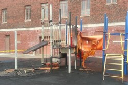 The aftermath of the fire at Beltzhoover playground on Saturday, April 25.