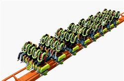 An illustration of the Rougarou, a new floorless roller coaster at Cedar Point. Speeds go up to 60 mph on this 3,900-foot track.