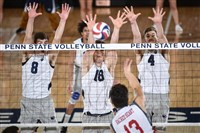 Matt Seifert, left, and Nick Goodell go up for a block during Penn State's victory against Sacred Heart.