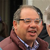 Thoroughbred owner and breeder Ahmed Zayat talks after watching two of his three Kentucky Derby hopefuls, American Pharoah and Mr. Z train at Churchill Downs in Louisville, Ky., Sunday, April 26, 2015. Zayat will also send out El Kabeir on the first Saturday in May.
