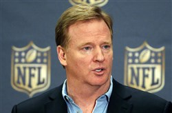 NFL Commissioner Roger Goodell addresses the media at a news conference at the NFL annual meeting in Phoenix last month. Goodell says the NFL has been tax-exempt since 1942, though all 32 teams pay taxes on their income.