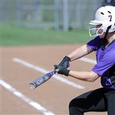 Baldwin's Mallory O'Brien delivers a two-run hit against Upper St. Claire in a Class AAAA matchup at the Boyce-Mayview Complex last month.
