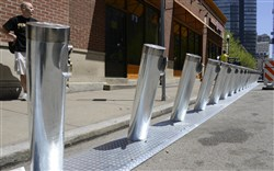 Coming attractions: Stalls for the bike share program are starting to crop up around the city. These are on Forbes Avenue Downtown at Market Square.