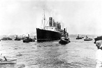 The British cargo and passenger ship Lusitania sets out for England on May 1, 1915, on its last voyage from New York City. The British ocean liner was sunk off Ireland on May 7, 1915, by a German U-Boat, killing 1,150 people, 114 of them Americans.
