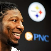 "Alvin ""Bud"" Dupree, the Steelers first-round draft pick, speaks to the Friday afternoon at the Steelers' South Side facility."