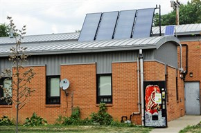 Solar panel sits atop Pittsburgh Fire Bureau station 34T in Marshall-Shadeland.