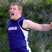 Knoch's Jordon Geist wins the shot put at the Baldwin Invitational Friday.