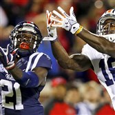 Ex-Auburn wide receiver Sammie Coates (18) can't catch a pass against Mississippi defensive back Senquez Golson (21) during a game at Ole Miss in November.