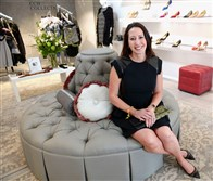 Pittsburgh-based shoe and accessories designer Emy Mack Jamison in her new Shadyside boutique.