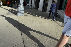 A sunny day produces long shadows in Downtown Pittsburgh.