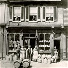 The Rieck family store at 1809 Jane St. in the South Side in the 1880s. The young man at the left is thought to be Edward E. Rieck.