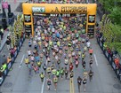 Elite runners break from the starting line at the 2015 Pittsburgh Marathon.