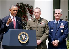 President Barack Obama on Tuesday nominates Marine Gen. Joseph Dunford Jr., center, as the next chairman of the Joint Chiefs of Staff and Air Force Gen. Paul J. Selva, right, to be vice chairman during an event in the Rose Garden at the White House.