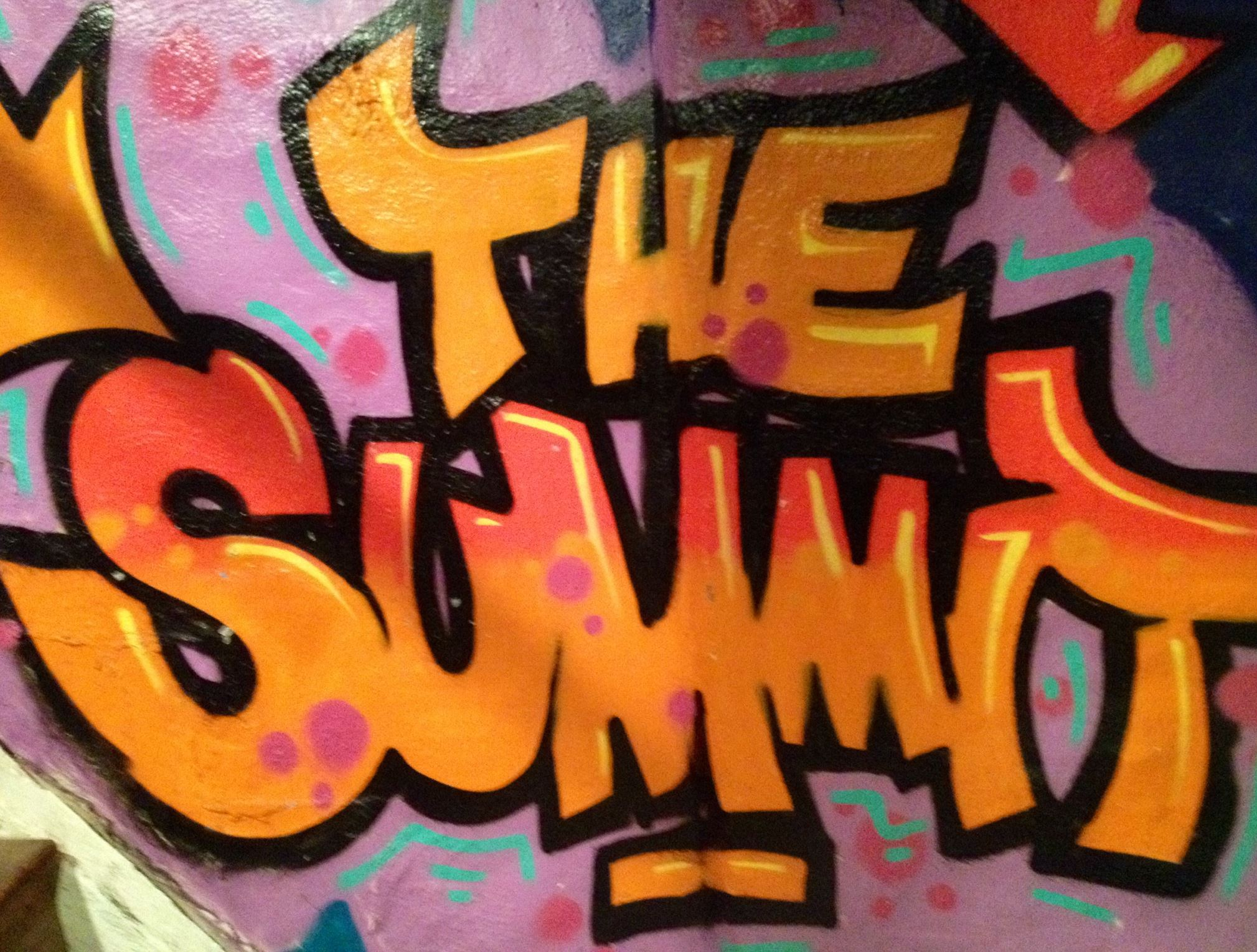 munch0507 A look at the colorful graffiti in the downstairs hallways of The Summit on Shiloh Street in Mt. Washington.