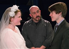 "Lily Lauver, left, Art DeConciliis and James Curry in Little Lake Theatre's production of ""Our Town."""