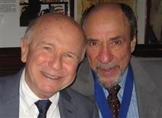 Theater Hall of Fame member playwright Terrence McNally with Hall inductee F. Murray Abraham at the post-ceremony dinner and party Monday in New  York.